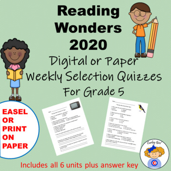 Reading Wonders Fifth Grade Weekly Selections Quiz Packet