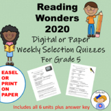 Wonders Reading Fifth Grade Weekly Selections Quiz Packet