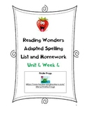 Reading Wonders First Grade Adapted Spelling List and Homework