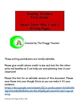 Reading Wonders First Grade Smart Start Writing
