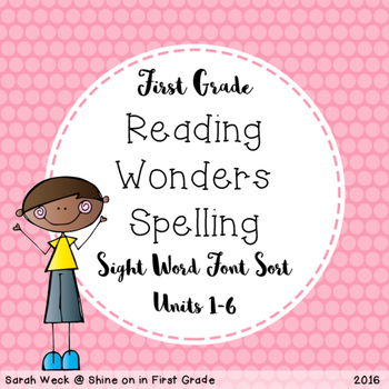 Reading Wonders First Grade Spelling Packet, Sight Word Font Sort