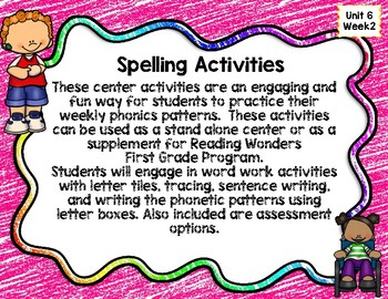 Reading Wonders First Grade Spelling Unit 6 Week 2 Center Activities