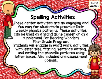 Reading Wonders First Grade Spelling Center Activities: Unit 6 Week 5