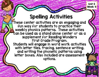 Reading Wonders First Grade Spelling Unit 6 Week4 Word Work Center Activities
