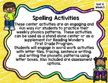 Reading Wonders First Grade Spellingv Unit 6 Week 3 Word Work Center Activities