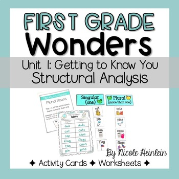 Reading Wonders First Grade Unit 1 Structural Analysis Activities
