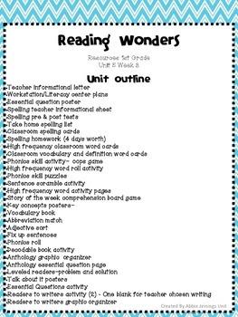 Reading Wonders First Grade- Unit 5 Week 3