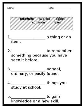 Reading Wonders First Grade Vocabulary Test Unit 1 Week1