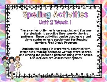 Reading Wonders First Grade Word Work / Spelling Unit 2 Week 1 Center Activities