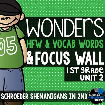 Reading Wonders Focus Wall and word cards for Grade 1 Unit 2