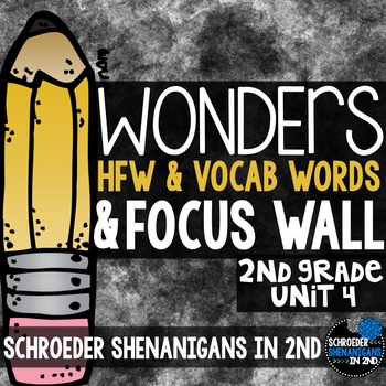 Reading Wonders Focus Wall & word cards Grade 2 Unit 4: Common Core Aligned!