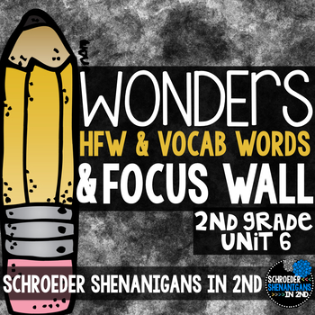 Reading Wonders Focus Wall & word cards Grade 2 Unit 6: Common Core Aligned!