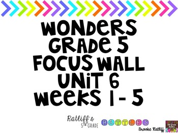 Reading Wonders Focus Wall Grade 5 Unit 6