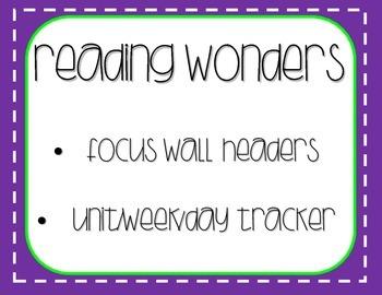 Reading Wonders Focus Wall Headers Color Tracker