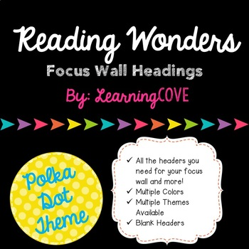 Reading Wonders Focus Wall Headings - Polka Dot