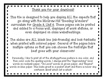 Reading Wonders Focus Wall and Word Cards: Grade 3 Unit 6