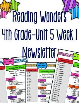 Reading Wonders Fourth Grade Newsletter- Unit 5 Week 1