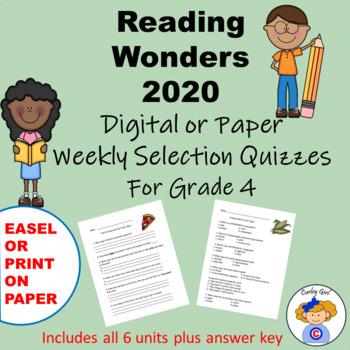 Wonders 4th Grade Comprehension Quiz Worksheets & Teaching