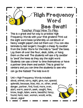 Reading Wonders Grade 1 Unit 4 High Frequency Word Bee Swat Center/Game!