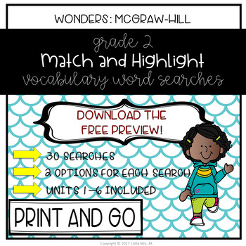 Reading Wonders Grade 2 Match and Highlight Vocabulary Search