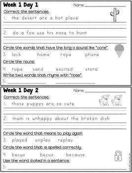 Grade 2 - Unit 2 - Morning Work - Language and Grammar - Reading Wonders