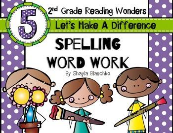 Reading Wonders Grade 2 - Spelling Word Work - Unit 5 - SU