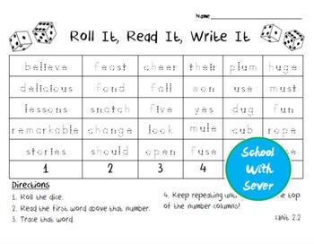 Reading Wonders Grade 2 - Unit 2 Week 2 - Roll It, Read It, Write It Activity