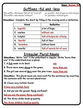 Reading Wonders Grade 2 - Unit 2 Week 4 Grammar Practice Suffix Irregular Plural