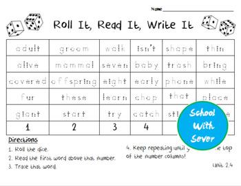 Reading Wonders Grade 2 - Unit 2 Week 4 - Roll It, Read It, Write It Activity