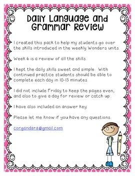 Reading Wonders Grade 2 - Unit 4 - Morning Work - Language and Grammar