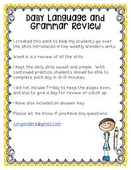 Reading Wonders Grade 2 - Unit 5 - Morning Work - Language and Grammar