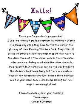 Reading Wonders-Grade 2- Vocabulary-Unit 5