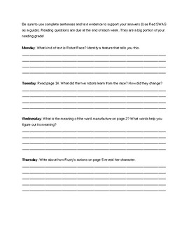 Reading Wonders Grade 3- Guided Reading Questions Unit 1, Week 1