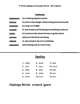 Reading Wonders Grade 3 Spelling and Vocab UNIT 3 ALL 5 WEEKS