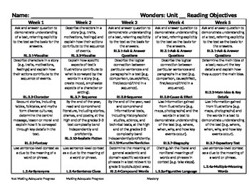 Reading Wonders Grade 3 Standards Units 1-6