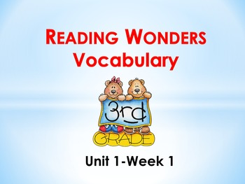 Reading Wonders Grade 3-Unit 1 Vocabulary PowerPoints