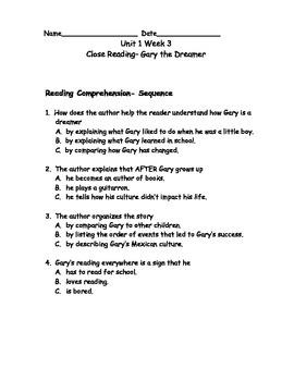 Reading Wonders Grade 3 Unit 1 Week 3 Comprehension Worksheets