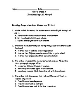 Reading Wonders Grade 3 Unit 1 Week 4 Comprehension Worksheets