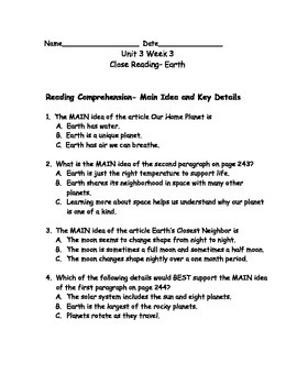 Reading Wonders Grade 3 Unit 3 Week 3 Comprehension Worksheets