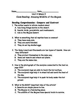 Reading Wonders Grade 3 Unit 4 Week 3 Comprehension Worksheets