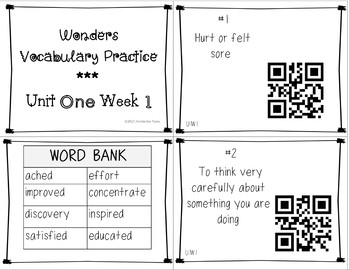 Reading Wonders Grade 3 Vocabulary QR Codes*Unit 1*Weeks 1-5