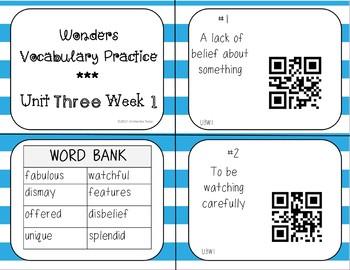 Reading Wonders Grade 3 Vocabulary QR Codes*Unit 3*Weeks 1-5