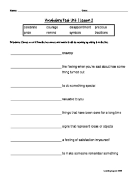 Reading Wonders Grade 3 - Vocabulary Test Unit 1 Weeks 1-5