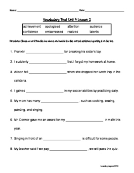 Reading Wonders Grade 3 - Vocabulary Test Unit 4 Weeks 1-5