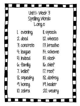 Reading Wonders- Grade 4- Spelling Words