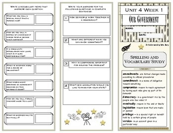 Reading Wonders Grade 4 Unit 4 Spelling/ Vocabulary Unit