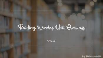 Reading Wonders Grade 5 Unit Overviews