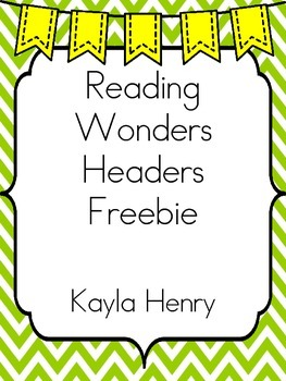 Reading Wonders Headers Freebie Green Chevron Background