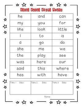 Reading Wonders High Frequency Vocabulary Checklists