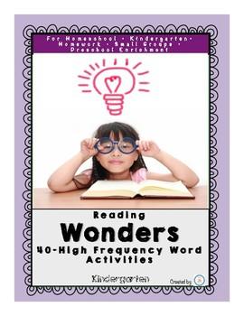 Reading Wonders High Frequency Word Activities for Kindergarten